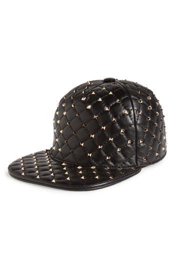 Women's Valentino Rockstud Spike Leather Baseball Cap - Black