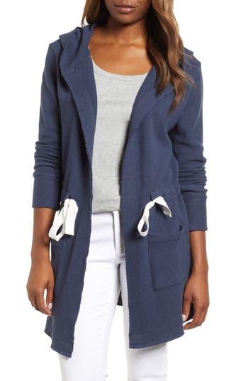 Petite Womens Caslon Drawstring Hooded Jacket Size XXSmall P  Blue