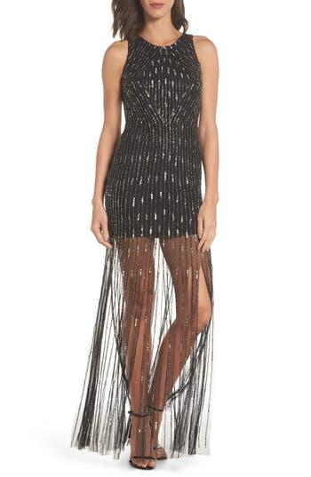 Adrianna Papell Beaded Sheer Skirt Gown, Black