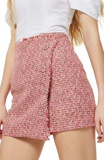 Topshop Boucle Asymmetrical Wrap Miniskirt, US (fits like 2-4) - Red