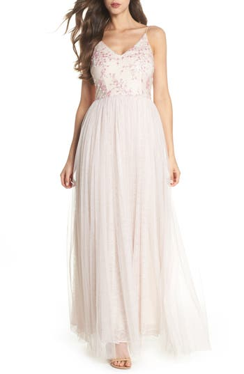 Adrianna Papell Embellished Bodice Tulle Gown, Pink