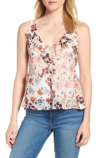 women's lucky cascade ruffle floral tank top, size x-small - ivory