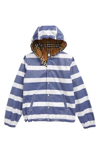 Boys Burberry Mayer Reversible Hooded Jacket Size 4Y  Blue