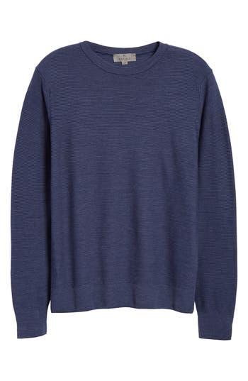 Canali Stripe Crewneck Wool Sweater, 4 US / 5 - Blue