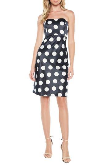 Bardot Sayer Dotted Tie Back Strapless Dress, Blue