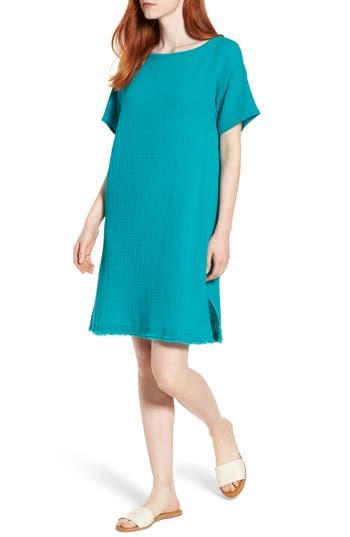 Eileen Fisher Organic Cotton Shift Dress, Blue/green