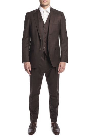 Men's Strong Suit By Ilaria Urbinati Hank Slim Fit Three-Piece Plaid Wool Suit (Nordstrom Exclusive)