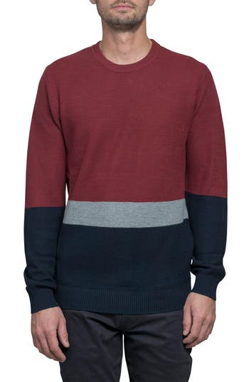 Ben Sherman Textured Colorblock Sweater, Red