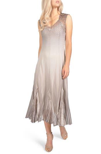 Komarov Chiffon & Lace Dress, Beige