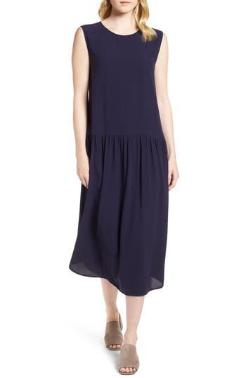 Eileen Fisher Drop Waist Silk Midi Dress, Purple