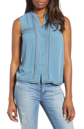 women's lucky embroidered tank top, size x-small - blue