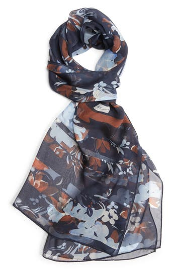 Women's St. John Collection Painted Floral Print Silk Georgette Scarf