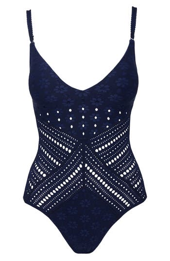 Robin Piccone Clarissa One-Piece Swimsuit, Blue
