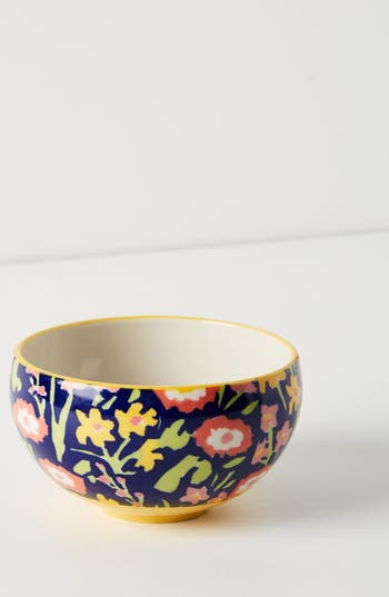 anthropologie painted poppies bowl, size one size - blue