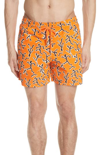 Vilebrequin Fire Dance Swim Trunks, Orange