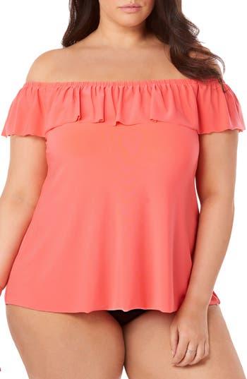 Plus Size Magicsuit Kris Tankini Top, Orange