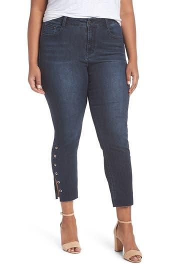 Plus  Women's Seven7 Grommet Slit Hem Ankle Skinny Jeans
