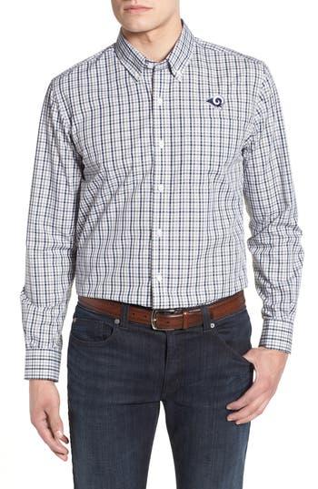 Men's Cutter & Buck Los Angeles Rams - Gilman Regular Fit Plaid Sport Shirt