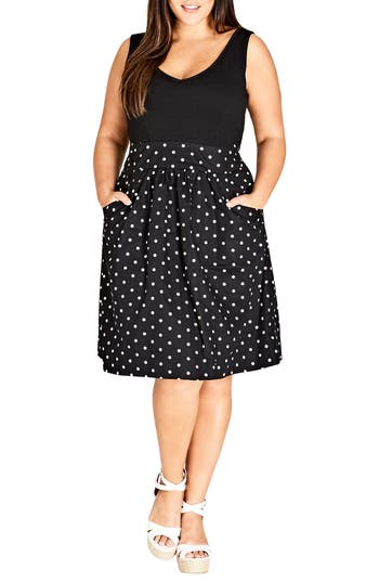 plus size women's city chic simply sweet fit & flare dress, size small - black