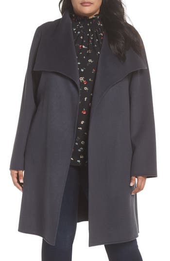Plus Size Women's Tahari Ellie Double Face Wool Blend Wrap Coat