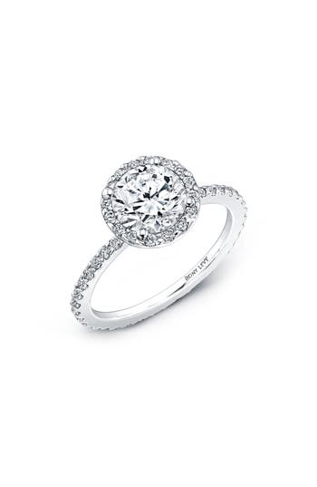 Bony Levy Pavé Halo Round Engagement Ring Setting