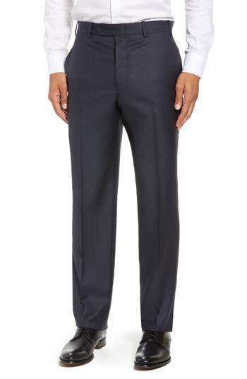 John W. Nordstrom® Torino Traditional Fit Flat Front Solid Wool Trousers