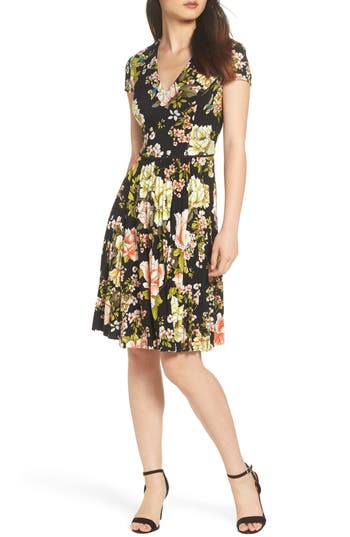 MAGGY LONDON FLORAL PRINT PLEAT SKIRT DRESS