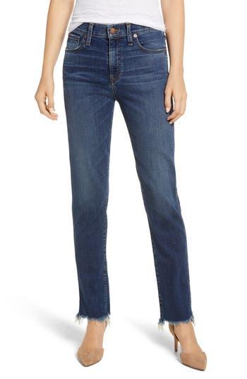Caslon® High Waist Raw Hem Boyfriend Jeans