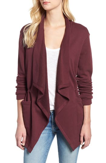 Caslon® Asymmetrical Drape Collar Terry Jacket