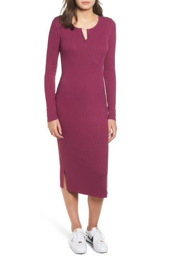 BP. Ribbed Henley Midi Dress
