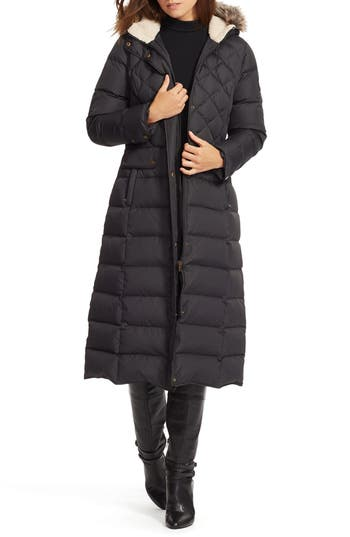 Lauren Ralph Lauren Faux Fur Trim Long Quilted Coat