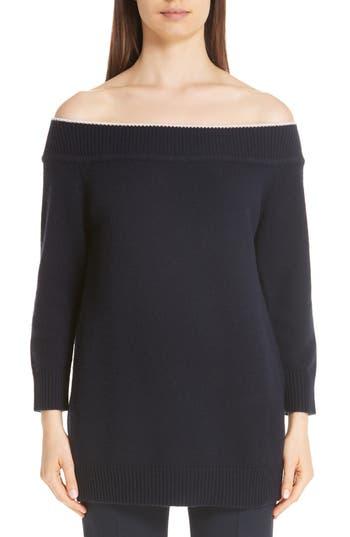 Lela Rose Contrast Neck Off the Shoulder Wool & Cashmere Sweater