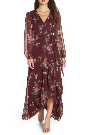 WAYF Meryl Long Sleeve Wrap Maxi Dress