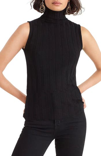 Women's J.crew 365 Stretch Sleeveless Turtleneck Sweater, Size Medium - Black