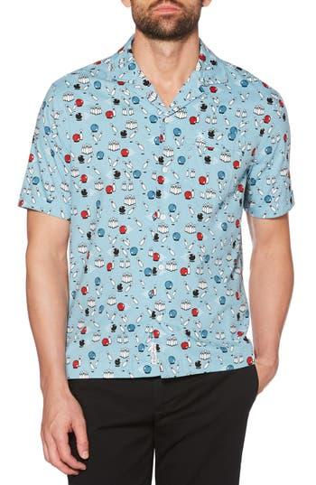 Men's Original Penguin Bowling Print Camp Shirt, Size Small - Blue