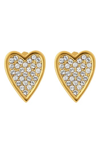 ADORE PAVE CRYSTAL HEART EARRINGS