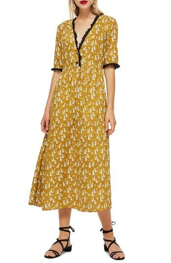 Women's Topshop Cheetah Midi Dress, Size 2 US (fits like 0) - Yellow