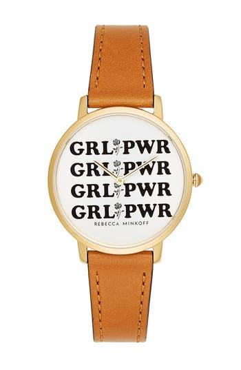 Rebeca Minkoff Major GRL PWR Leather Strap Watch, 35mm