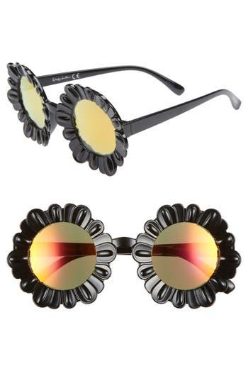 Circus by Sam Edelman 43mm Mirrored Round Flower Frame Sunglasses