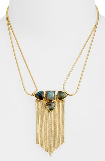 Sole Society Labradorite & Fringe Pendant Necklace