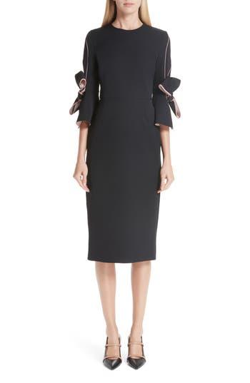 Roksanda Bow Sleeve Crepe Sheath Dress