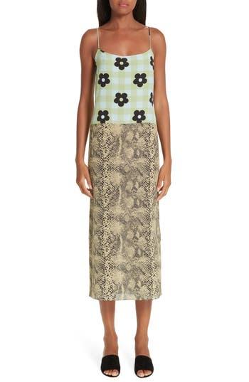 Sandy Liang Mixed Print Silk Dress