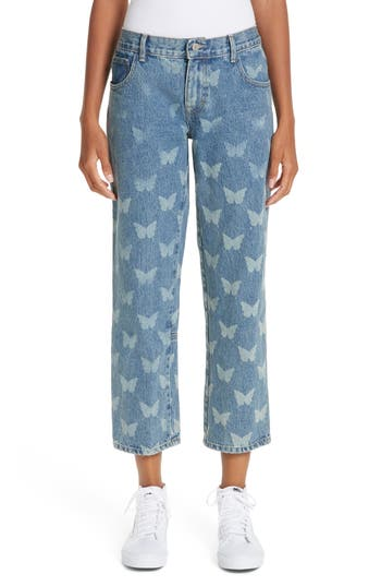 Sandy Liang Mariah Butterfly Crop Jeans