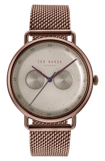 Ted Baker London Mesh Strap Watch, 40mm