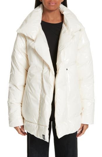 Bacon Shiny Puffer Coat with Contrast Lining