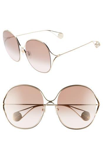 Gucci 57mm Round Sunglasses