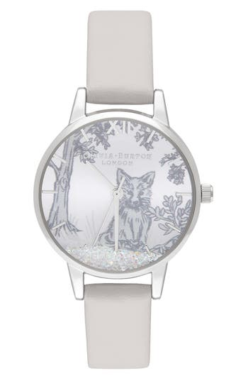 Olivia Burton Snow Globe Leather Strap Watch, 30mm