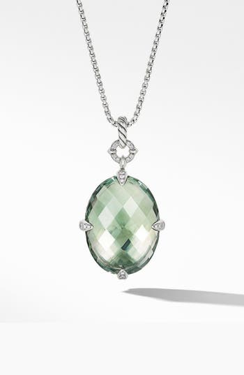David Yurman Statement Prasiolite Pendant Necklace with Diamonds