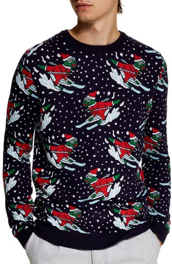 Topman Skiing Dinosaurs Holiday Sweater