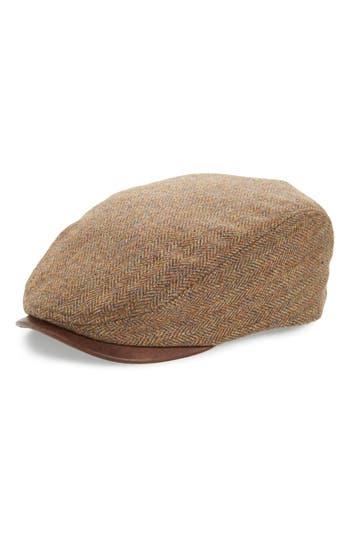 Crown Cap Scottish Tweed Ivy Wool & Leather Driving Cap